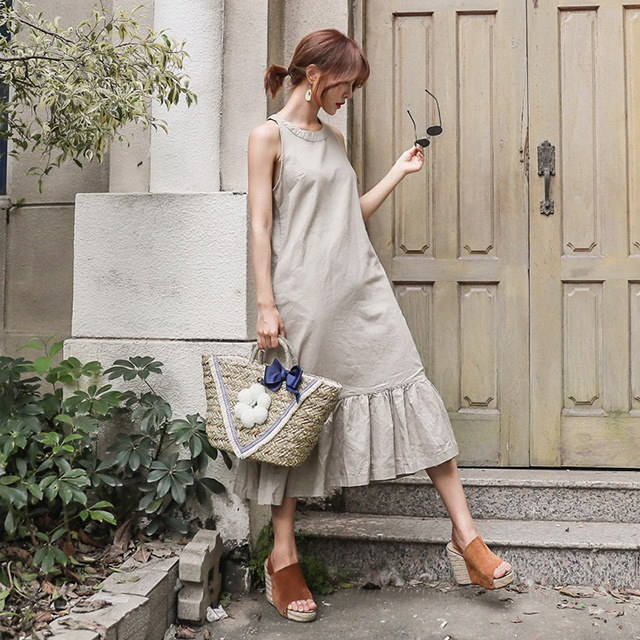 裾フリルホルターネックロングリネンワンピースリネンワンピースデイリールックkorea women fashion style