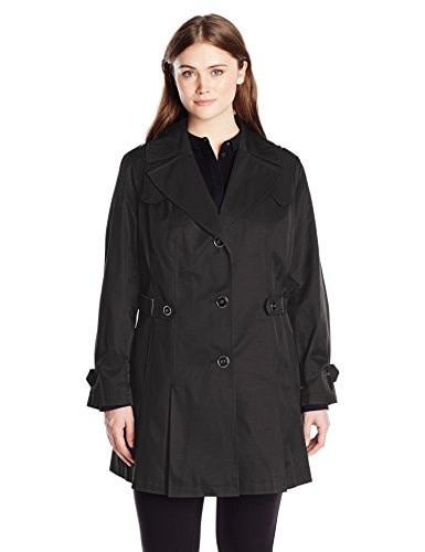 Via Spiga Womens Plus-Size Single Breasted Pleated Trench Coat, Black, 2X