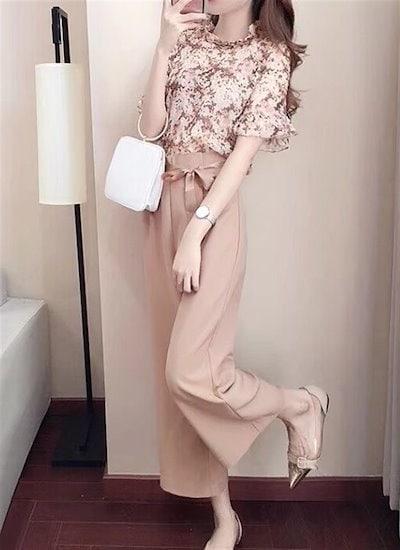 フリル リボン 花柄 レース パンツドレス セットアップパンツスーツ ウエストリボン オールインワン パンツ 結婚式 お呼ばれ 二次会