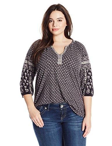 Lucky Brand Womens Plus-Size Dasha Woodblock Top, Black/Multi, 2X