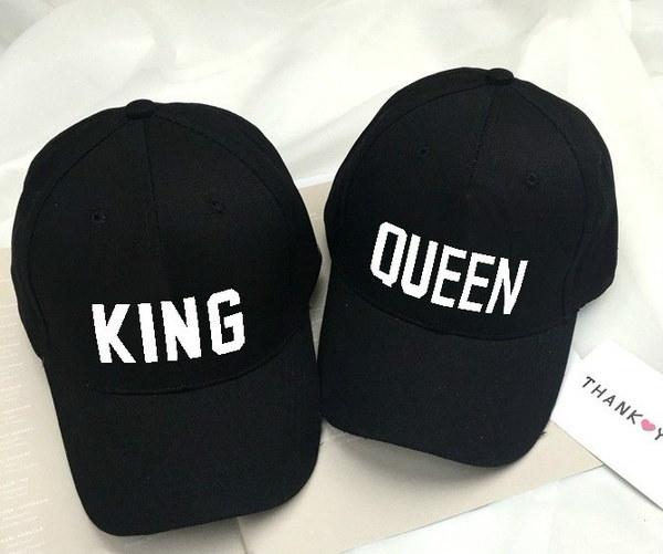 男性と女性のファッションQUEEN / KING Basdeball CapヒップホップレターPrint Caps Couple Snapback Hats