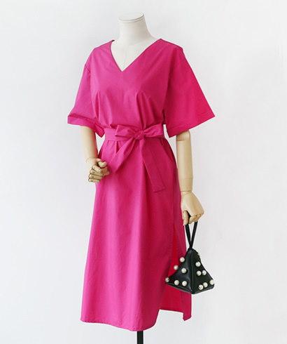 ベーシックVネックストラップ半袖ロングワンピース30324デイリールックkorea women fashion style