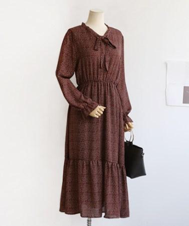 ドットパターン秋シフォンロングワンピース30552デイリールックkorea women fashion style