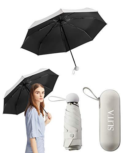 日傘 折り畳み傘 超軽量250g 晴雨兼用 完全遮光 UVカット率99.9% コンパクト超耐風撥水 小型 携帯便利 収納ケース付き コンパクト 可愛い オシャレ レディース/メンズ/キッズ/子供ホワイ