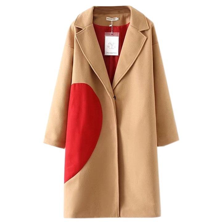 欧米風配色コクーンコートレディース  着痩せ  ウールコート 長め  あたたかい   ゆる感