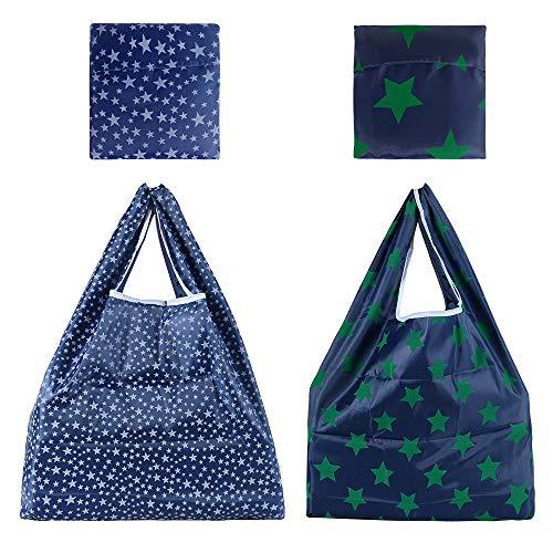 LessMo 防水エコバッグ 2点セット 折りたたみ買い物袋 コンビニ 大きサイズ買い物袋 買い物バッグ星