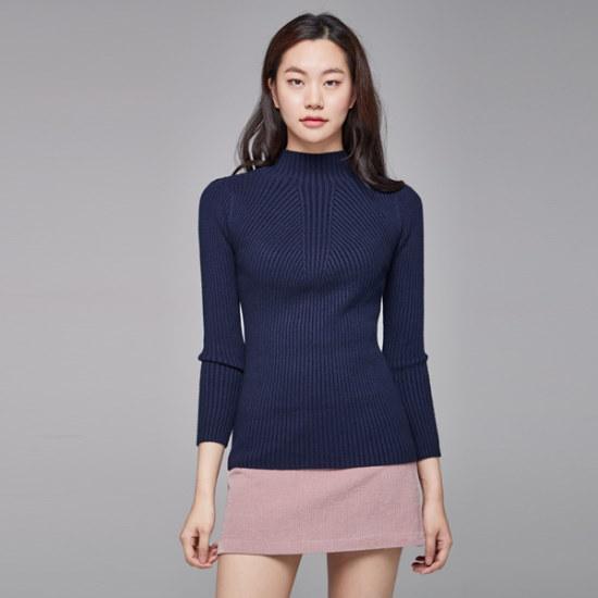 ナインNAINクラスのハイネックのシンプルニートT3376 ニット/セーター/韓国ファッション