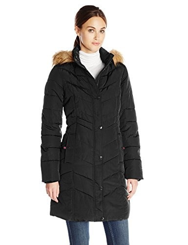 Tommy Hilfiger Womens Long Chevron Quilted Down Coat with Fur Trim Hood, Black, Medium