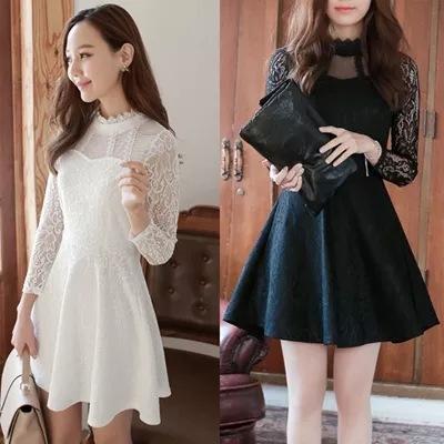 レースシースルーフレアワンピース☆韓国ファッション パーティードレス ドレス ワンピ ミニドレス ショートドレス 結婚