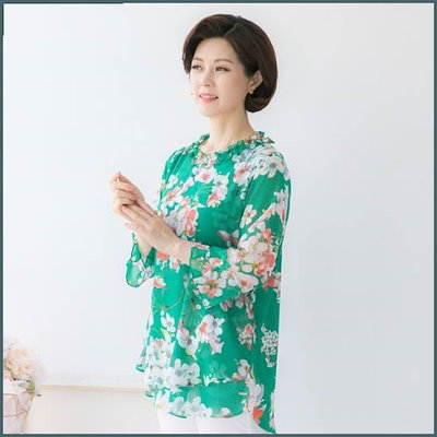 [マダム4060]ママの服ドキドキブラウス-XBL904102- /シフォン/シースルーブラウス/韓国ファッション