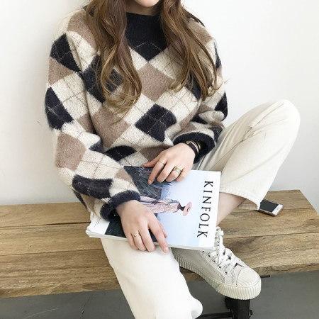 モノ鼻アーガイルニットKorean fashion style