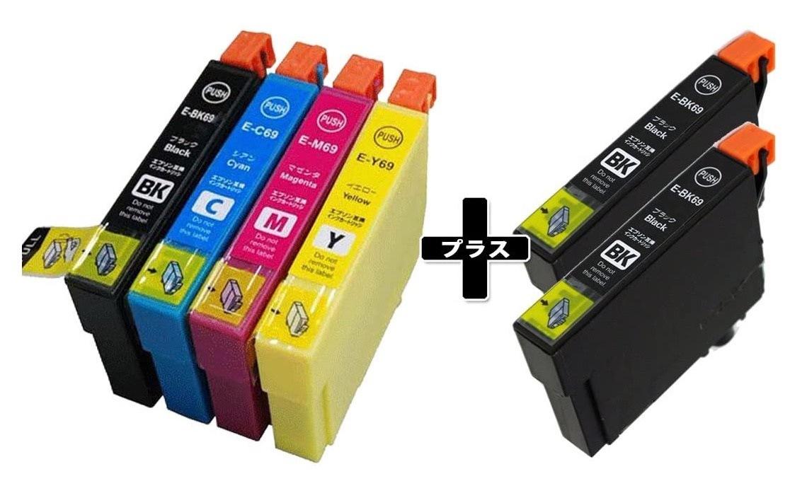 「6本セット」 EPSON エプソン IC4CL69 対応 4色セット+2本ICBK69(ブラック増量) 染料 互換インクカートリッジ ICBK69 ICC69 ICM69 ICY69