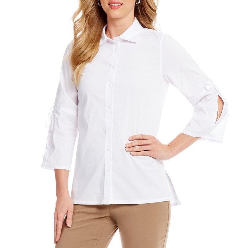 ウエストバウンド レディース トップス ブラウス・シャツ【Westbound Button Front Bell Sleeve Shirt】White