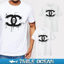 送料無料 7MILE OCEAN メンズ 半袖 Tシャツ プリント クルーネック ヘビーウェイト ドクロ X スカル トライバル 白 グレー ロゴ 通販限定 S M L XL XXL 大き目 大きい ビッグサイズ対応