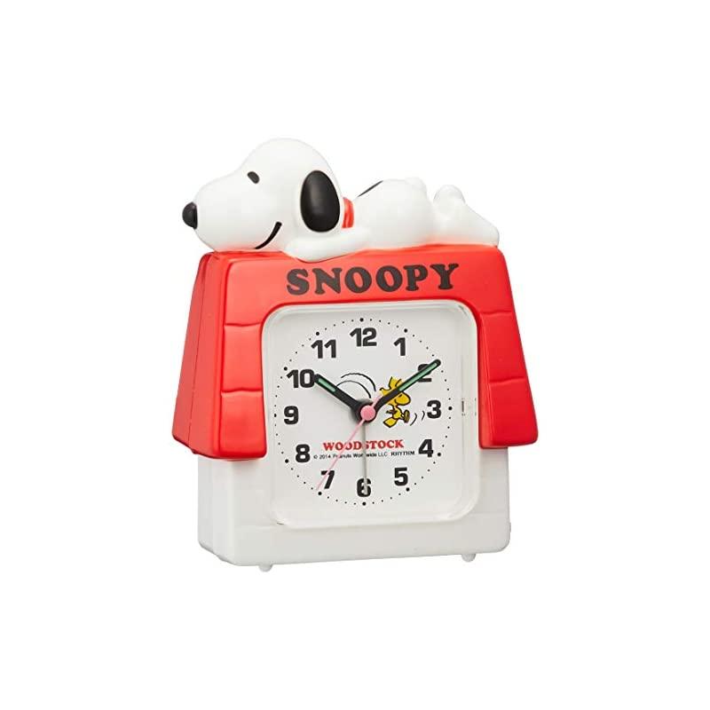 【即納】SNOOPY (スヌーピー) 目覚まし時計 キャラクター アナログ R551 電子音 3D 白 リズム(RHYTHM) 4SE551MS03