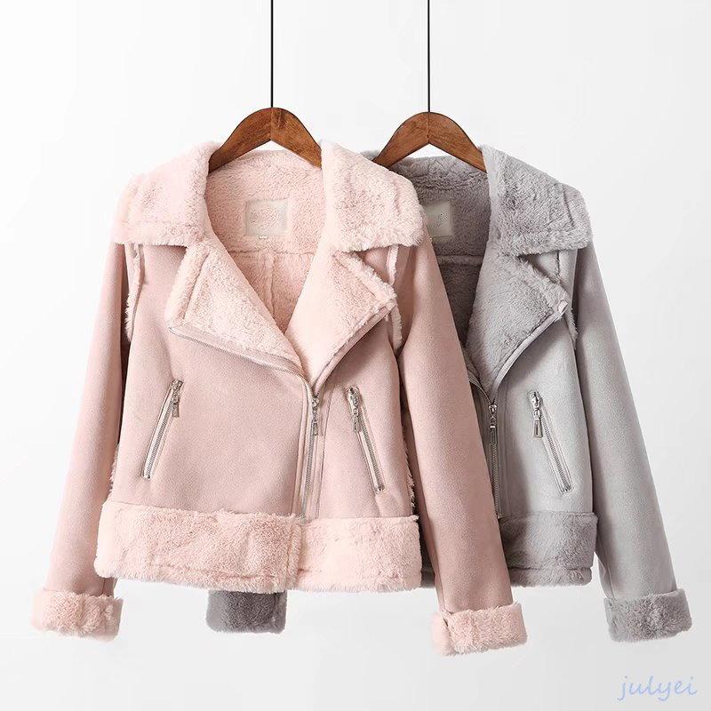欧米風 毛織物 スエード ふんわり厚手 あったか ジャケット レディースアウター  秋冬 防寒 雪 お洒落 ピンク、ブルー