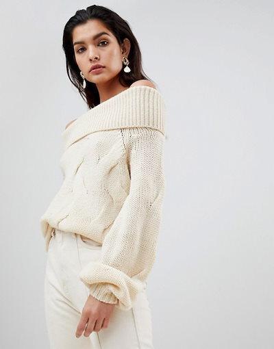 ヴィラ レディース ニット・セーター アウター Vila Chunky Cable Knit Off Shoulder Sweater
