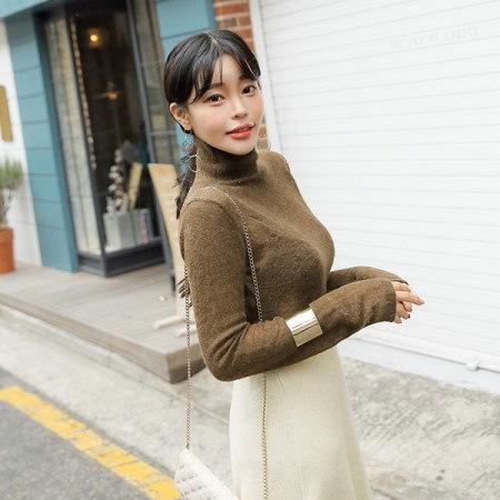 [Tom n Rabbit]アルファウールシースルーティーポーラニットスリムフィットシースルートップベーシックkorean fashion style