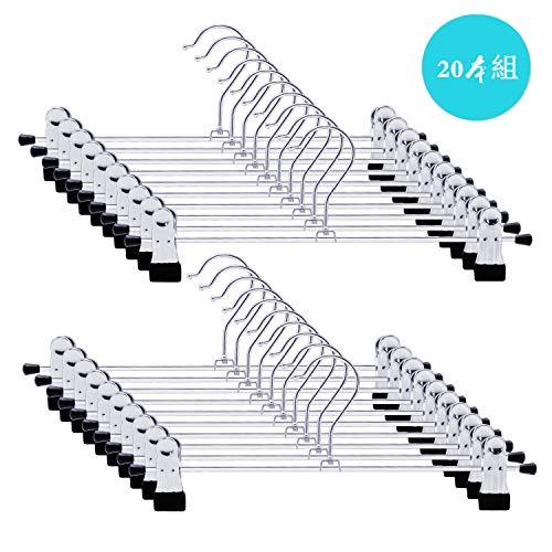 LEEPWEI ズボンハンガー スカートハンガー クリップ すべらない ハンガー 頑丈 便利なハンガー黒 ブラック 20本組 幅3020本組