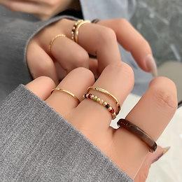 指輪 レディースアクセサリー  女性 彩色リング 指飾り 指輪 セット 成人式 小物ギフト誕生日プレゼント贈り物 韓国ファッション