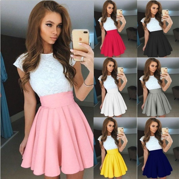 Summer Colorful Puffy Skirt Women Sexy Black High Waist Mini Dress Short Skirt Mini A Line Party Dre