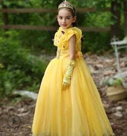 d587b6def4a2a ベル ドレス プリンセス 美女と野獣風 Belle ロングドレス しっかり ふわりん コスチューム なりきり 子供