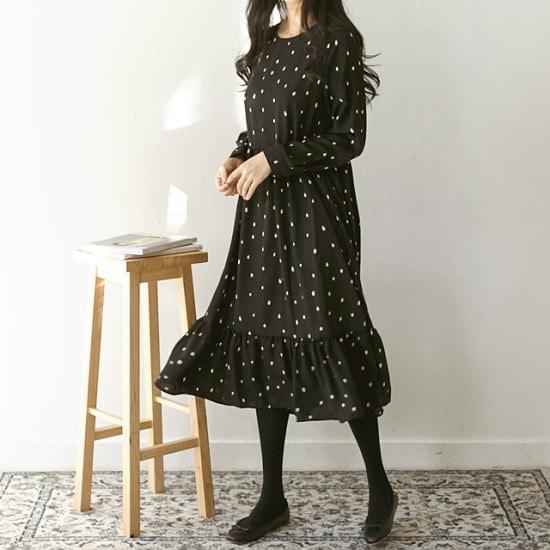 アーバンフランドロップ・ドットフレアワンピース 綿ワンピース/ 韓国ファッション