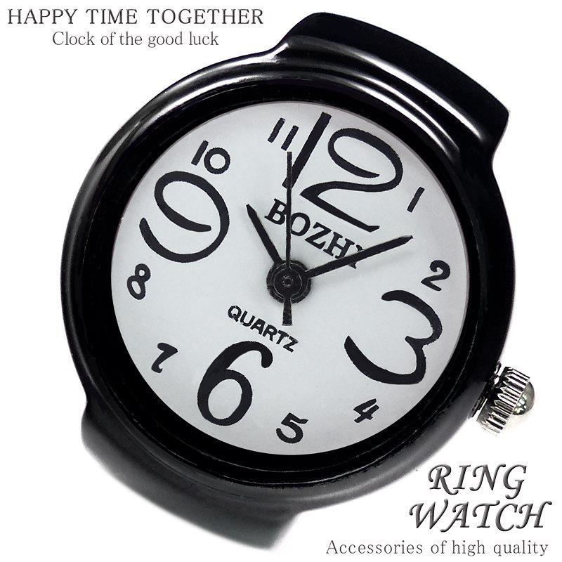 【新作 全21種】リングウォッチ ブラック ホワイト 丸型 クロックリング 指輪時計 指時計 フリーサイズ 指輪 型 時計 かわいい フィンガーウォッチ アナログ プチプラ レディース 時計 【t28