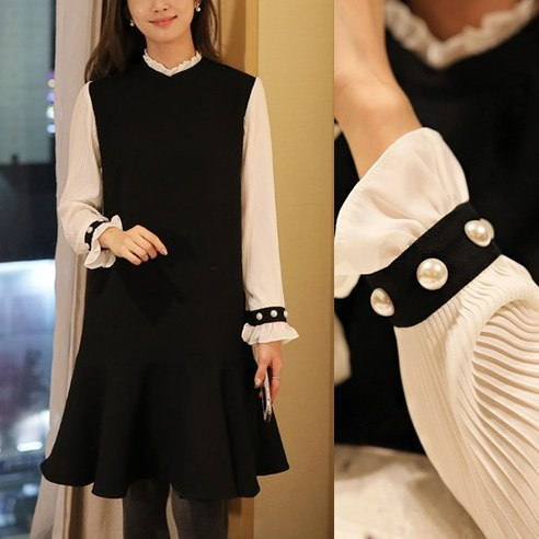 [ClicknFunny] Pleated pearl color dress OP4348 Midi dress (knee length) Korean fashion style