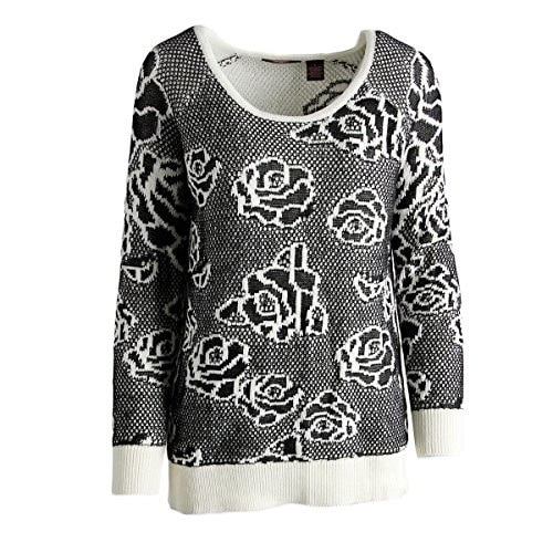 Heather Womens Flower Pullover Sweater (Large, Black/Ivory)