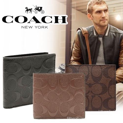 【業界最安値に挑戦☆】COACH メンズ財布が8700円!コーチ 財布 メンズ 二つ折り財布 コインケース シグネチャー f75006 f7