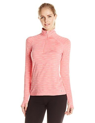 Spalding Womens Spacedye Stripe 1/2 Zip Pullover Top, Hot Coral Combo/Hot Coral, Medium