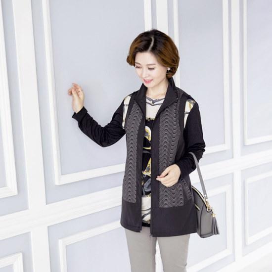 マダム4060ママの服の波捺染チョッキXVE708001 ベセチュウ / ニット・ベスト/ 韓国ファッション