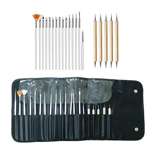 ネイルアートブラシセット ボディペイントペン 20セットのペン ネイルペン ネイルブラシ ネイル筆 ネイル 用品 道具 ジェル 筆 デザイン キット ブラック収納バッグ付き 初心者&プロにも最適