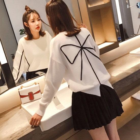 オーサムロニエルリボンポイントニット233564 ニット/セーター/ニット/韓国ファッション