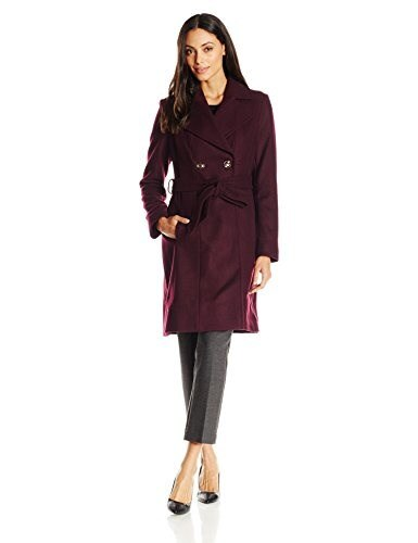 Via Spiga Womens Double Breasted Wool Coat with Belt, Port, 4