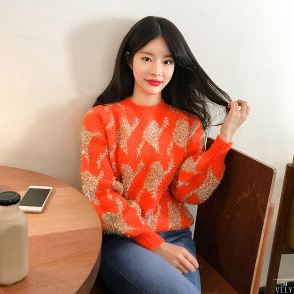 メタルハウンドウールニット/ラメ/キラキラ/ニット/ウール/韓国ファッション/イムブリー/IMVELY
