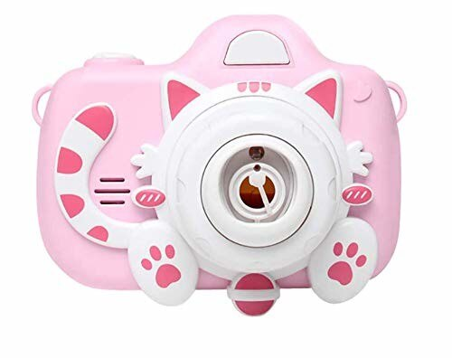 シャボン玉 カメラ 子供のバブルカメラおもちゃ電動式シャボン玉カメラ機 女の 子 誕生日のおもちゃのギフトのための外遊び バブルメーカー バブルライトと音楽で ポータブル (ブルー)