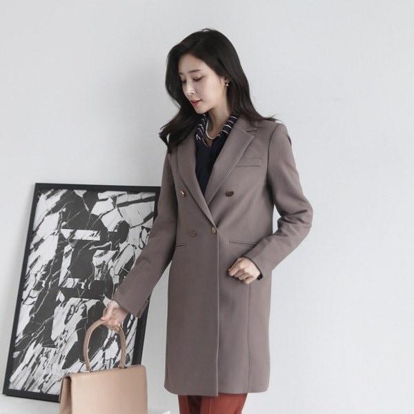 ゴールドボタンダブルコート70903 女性のコート/ 韓国ファッション/ジャケット/秋冬/レディース/ハーフ/ロング/