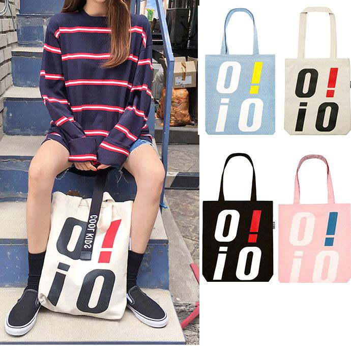 【配送早く】ECO BAG-BLACK ★ オアイオアイ 韓国 レディース トート ロゴ バッグ エコバッグ ショルダーバッグ ショッピングバッグ  カバン ママバッグ 韓国ファッション A83