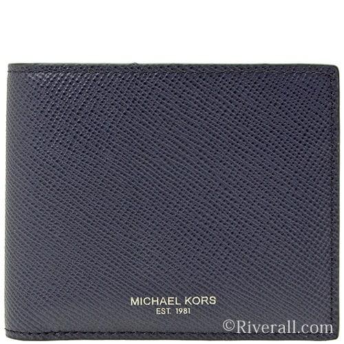 マイケル マイケルコース MICHAEL MICHAEL KORS HARRISON BILLFOLD W COIN POCKET メンズ 二つ折り財布 ネイビー レザー 39f5lhrf3l-406