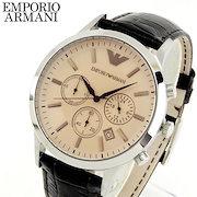 3f8357384d 【送料無料】EMPORIO ARMANI エンポリオアルマーニ クロノグラフ 革ベルト レザー メンズ 腕時計 時計