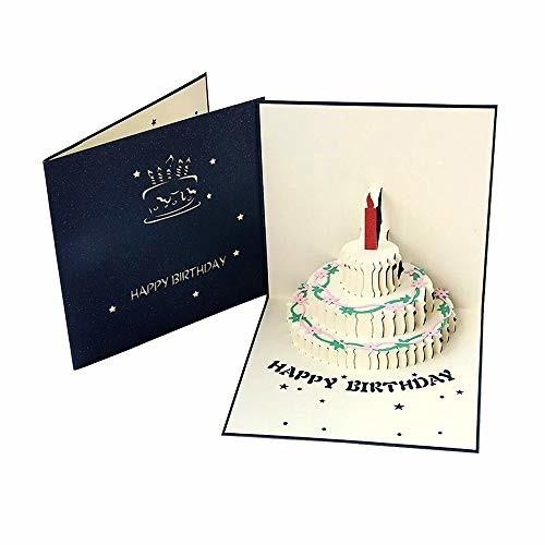 誕生日カード ケーキ 立体カード バースデ グリーティングカード ポップアップカード メッセージカード 感謝 誕生日 お祝い 封筒付き 2色 (ネイビー)