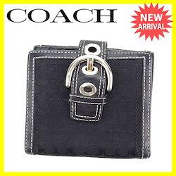 a6ddb2e0210c コーチ COACH Wホック財布 二つ折り コンパクトサイズ レディース ベルトデザイン シグネチャー ブラック×シルバー