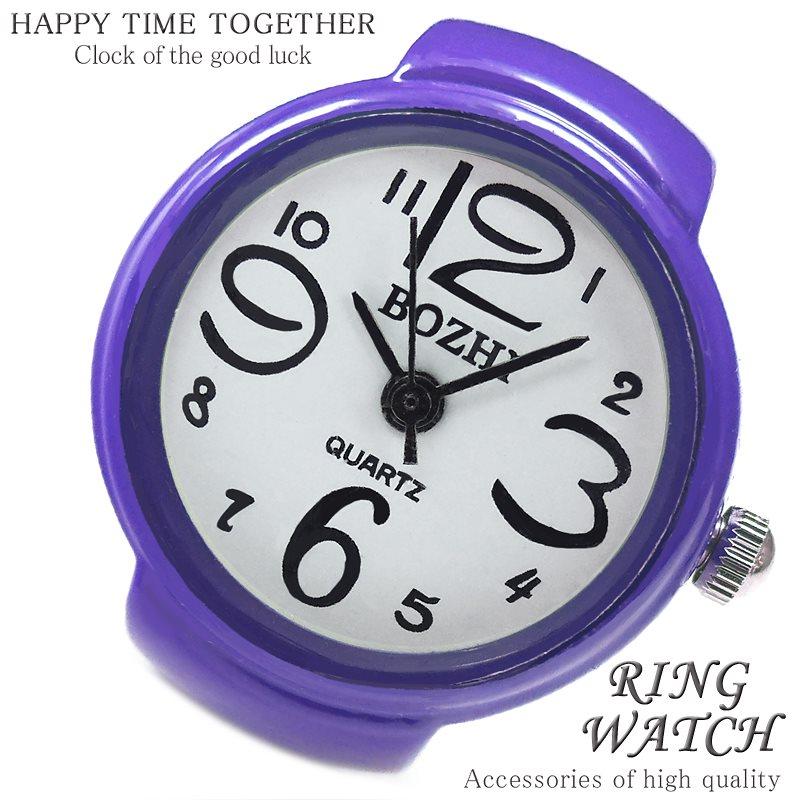 【新作 全21種】リングウォッチ パープル 紫 丸型 クロックリング 指輪時計 指時計 フリーサイズ 指輪 型 時計 かわいい フィンガーウォッチ アナログ プチプラ レディース 時計 【t288】【