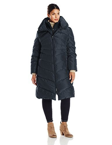 Jessica Simpson Womens Plus-Size Long Chevron Down Coat, Navy, 2X