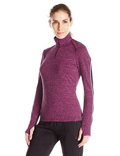 Lark & Ro Womens Hi Tech Colorblock Half Zip Pullover, Mulberry Melange/Black, X-Large