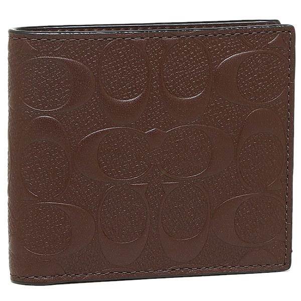 コーチ 財布 アウトレット COACH F75363 MAH ウォレット イン シグネチャー クロスグレイン レザー メンズ 二つ折り財布 マホガニー