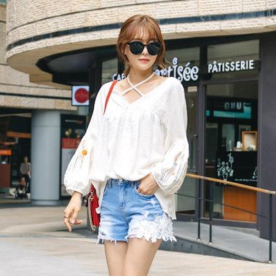 レドゥオピンプリティー自首ブラウス ソリッドシャツ/ブラウス/ 韓国ファッション