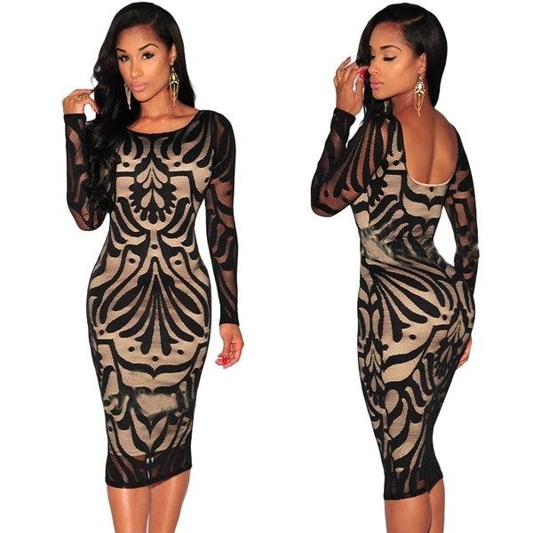 エレガントなバックレスレースは女性の鉛筆スカートファッションBodyconカクテルドレスを設計